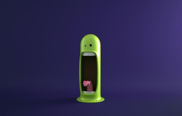 Картинка язык, фиолетовый, глаза, фон, монстр, зубы, зелёный