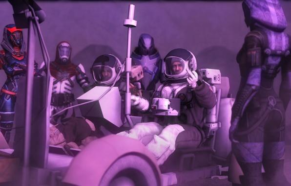 Картинка луна, скафандр, космонавты, жест, пришельцы, mass effect, астронавты, tali, экспедиция, quarian, луноход, Tali'Zorah