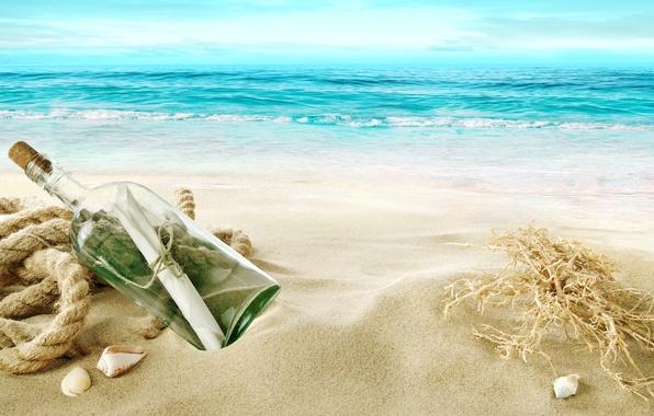 Картинка песок, море, пляж, берег, ракушки, beach, sea, sand, shore, letter, bottle, seashells