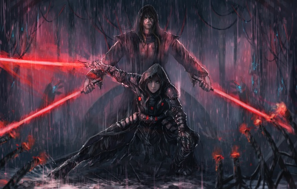 Картинка девушка, дождь, арт, star wars, парень, световой меч, The Sith Lords
