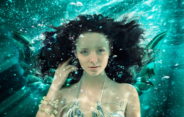 Картинка взгляд, русалка, под водой