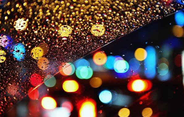 Картинка стекло, капли, ночь, огни, дождь, боке