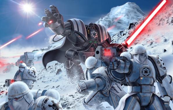 Картинка star wars, darth vader, броня, art, stormtrooper, lightsaber, sith