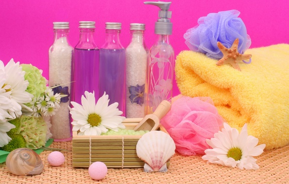 Картинка цветы, камни, полотенце, раковина, кристаллы, flowers, rocks, спа, bottles, соль, shell, spa, бутылочки, salt, towel, …
