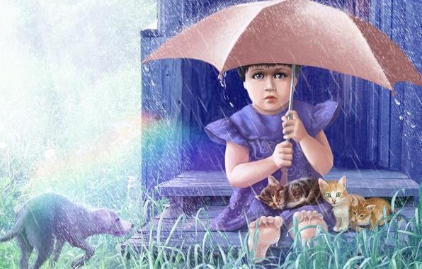 Картинка животные, трава, дождь, рисунок, собака, зонт, девочка, котята