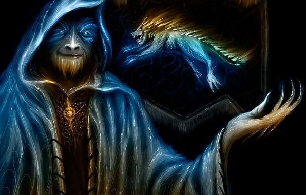 Картинка фентези, монстр, флаг, символ, маг, чудовище, Vitaly S. Alexius