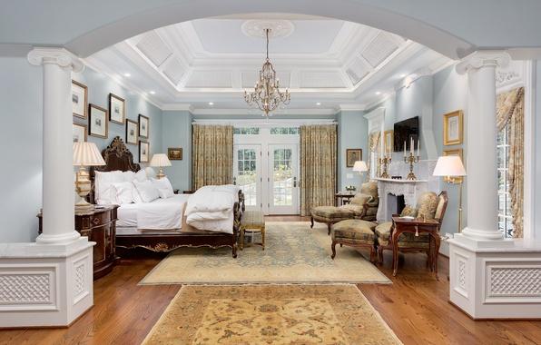 Картинка дизайн, ретро, кровать, интерьер, потолок, люстра, спальня