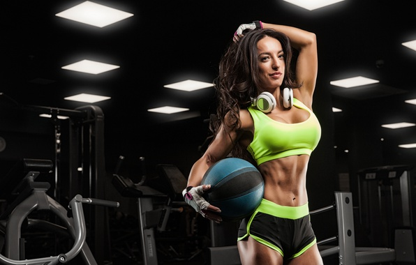 Картинка ball, pose, female, fitness, gym, music headphones