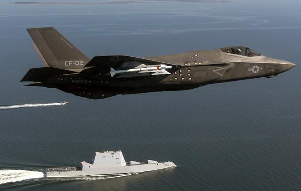 Фото обои США, армия, F-35 Lightning, USS Zumwalt (DDG 1000), оружие