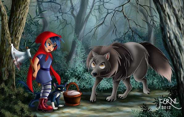 Картинка лес, кошка, кот, корзина, кровь, волк, красная шапочка, арт, девочка, топор, корзинка, Red Riding Hood