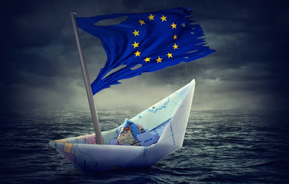 Картинка map, crisis, paper boat, Flag of Europe