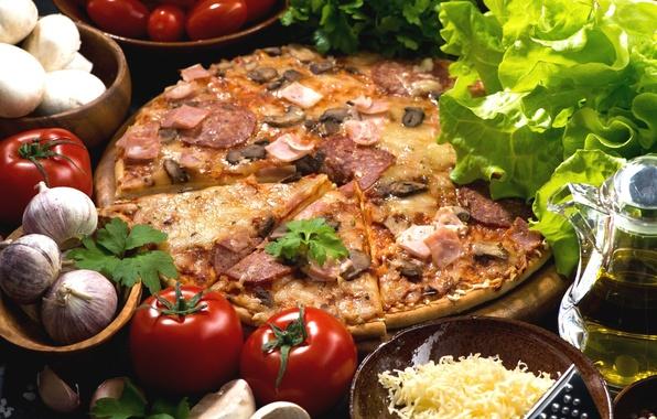 Картинка грибы, масло, сыр, пицца, помидоры, салат, чеснок, ветчина
