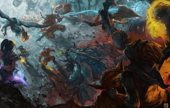 Картинка арт, битва, герои, dota, персонажи, фан арт, dota 2, моба