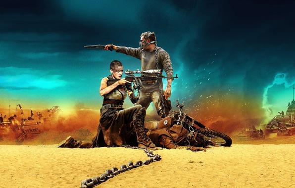 Картинка пустыня, мотоцикл, винтовка, desert, шарлиз терон, обрез, tom hardy, том харди, mad max: fury road, …