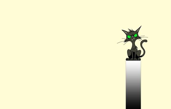 Картинка кот, полоса, черный, минимализм, клыки, сидит, cat, зеленые глаза, клыкастый