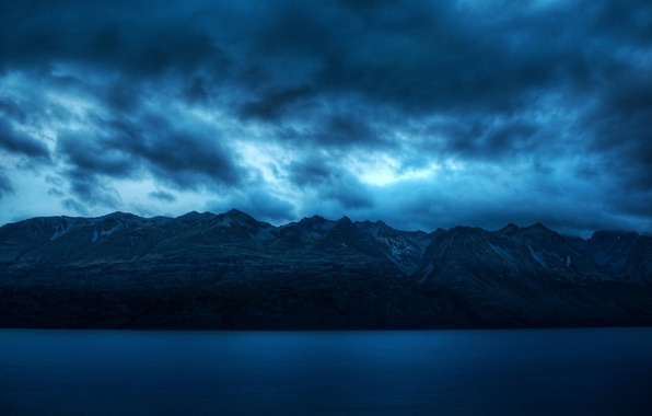 Картинка горы, широкоэкранные, спокойствие, HD wallpapers, обои, море, вода, голубой, полноэкранные, background, синий, тишина, облака, fullscreen, ...