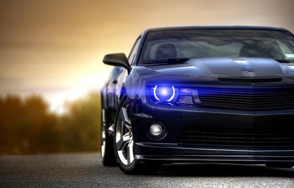 Картинка чёрный, Chevrolet, Camaro, шевроле, мускул кар, black, блик, muscle car, front, камаро
