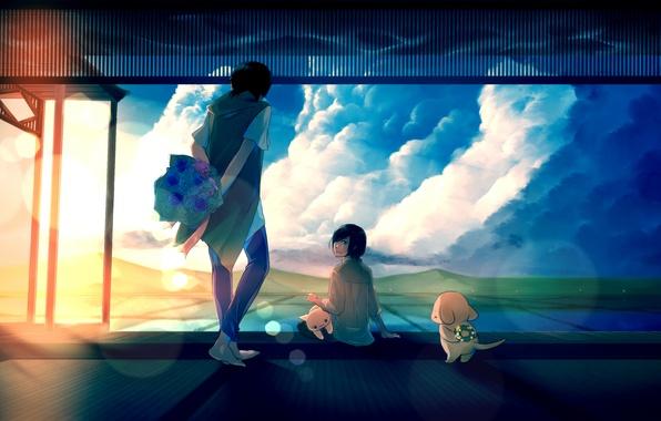 Картинка небо, кот, девушка, солнце, облака, закат, цветы, собака, букет, аниме, арт, парень, венок, tamagosho