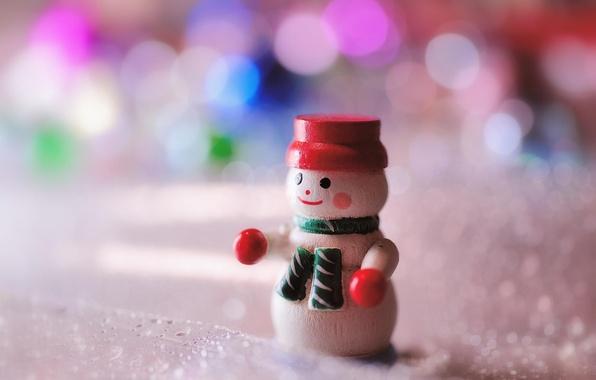 Картинка макро, игрушка, новый год, снеговик