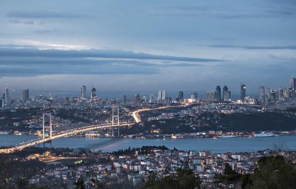 Картинка небо, облака, ночь, природа, city, город, панорама, sky, nature, Стамбул, Турция, panorama, night, clouds, Istanbul, …