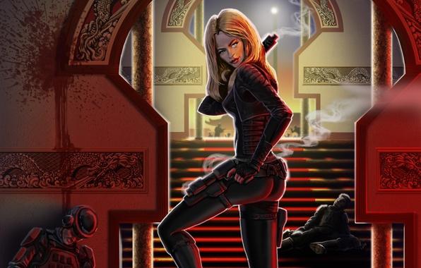 Картинка девушка, оружие, арт, враги, трупы? дым