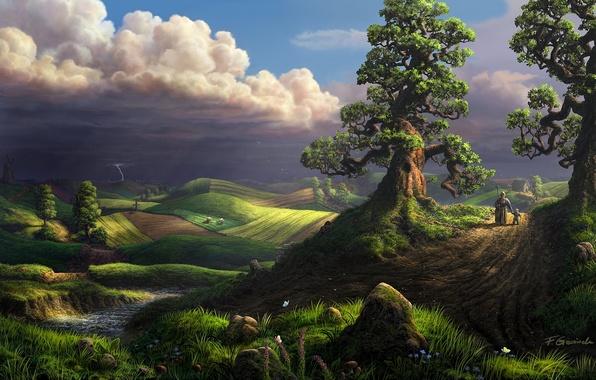 Картинка гроза, деревья, бабочки, пейзаж, цветы, тучи, дом, река, молния, поля, ребенок, бабушка, арт, дорожка, прогулка, …