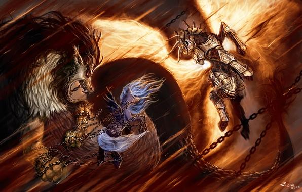 Картинка пламя, дракон, рисунок, доспехи, Луна, фэнтези, арт, flame, битва, fantasy, цепи, принцесса, armor, art, dragon, …