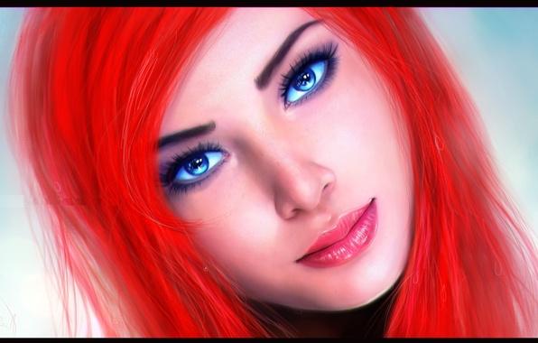 Картинка взгляд, лицо, фон, голубые глаза, Ariel, русалочка, красные волосы