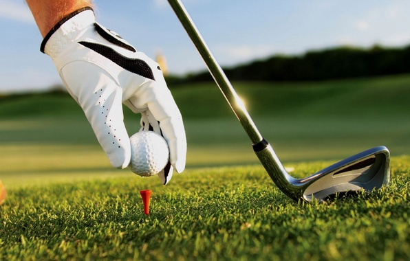 Картинка трава, рука, мячик, клюшка, гольф, перчатка