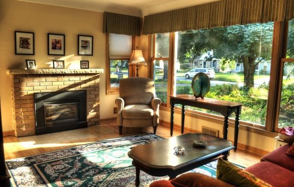 Картинка дизайн, стиль, стол, комната, ковер, мебель, интерьер, кресло, окно, картины, камин