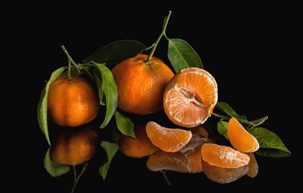 Картинка отражение, фрукт, цитрус, дольки, плод, мандарин