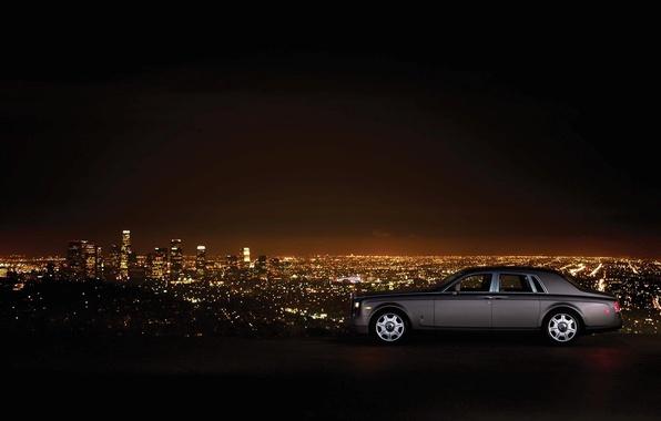 Картинка машина, пейзаж, ночь, гора, небоскребы, Phantom, стоит, Rolls Royce, ночной город, сбоку, роскошь, Los Angeles, …