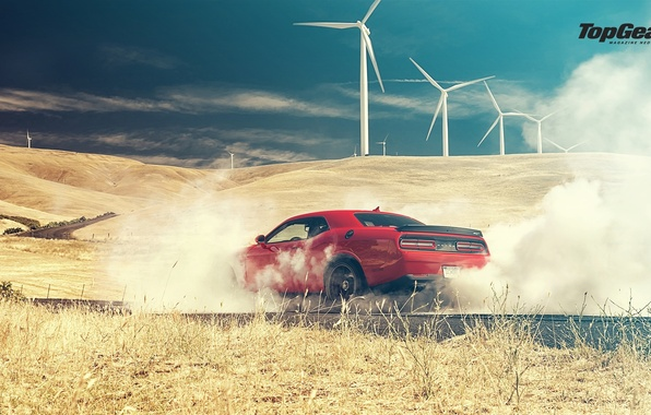 Картинка Top Gear, Dodge, Challenger, Red, Smoke, Hellcat, SRT, Rear, 2015