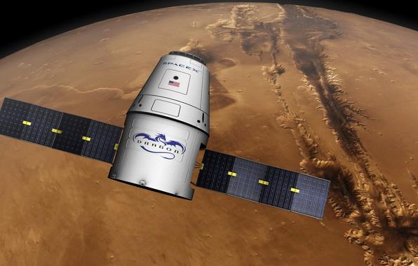 Картинка поверхность, Марс, космический корабль, транспортный, частный, Dragon SpaceX