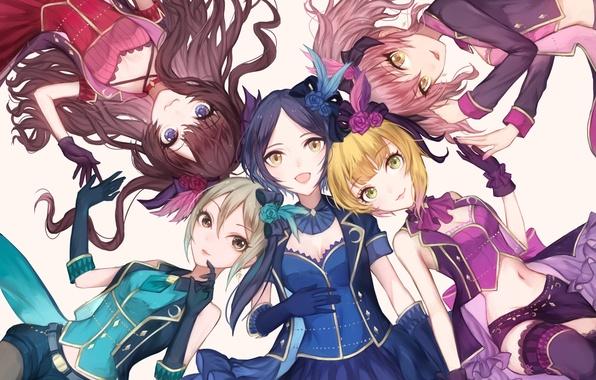 Картинка цветы, девушки, розы, аниме, арт, idolmaster, jougasaki mika, ichinose shiki, hayami kanade, ilo, shiomi shuuko, …