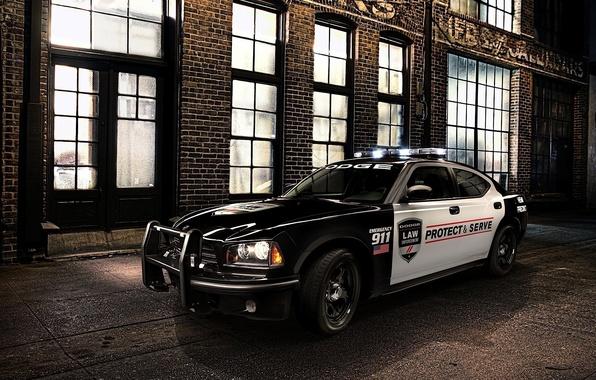 Картинка ночь, фон, здание, Dodge, мускул кар, додж, Charger, передок, чарджер, Muscle car, Pursuit, Pace Car