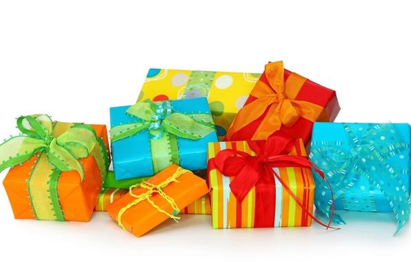 Картинка подарок, обои, новый год, рождество, лента, бант, упаковка