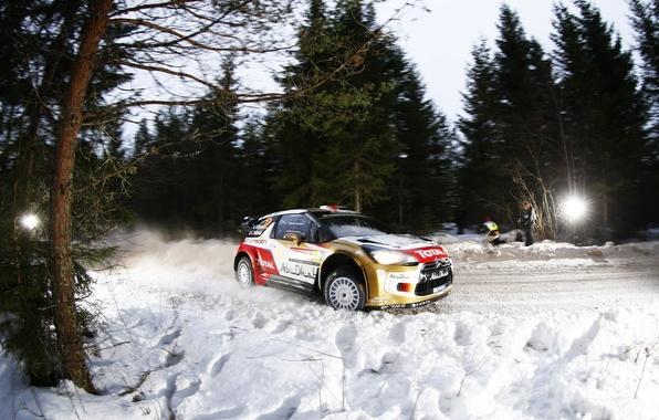 Картинка Зима, Ночь, Снег, Спорт, Машина, Скорость, Ситроен, Citroen, DS3, WRC, Rally, Ралли