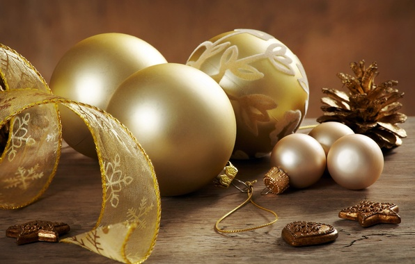 Картинка украшения, праздник, шары, новый год, лента, шишка, елочные игрушки