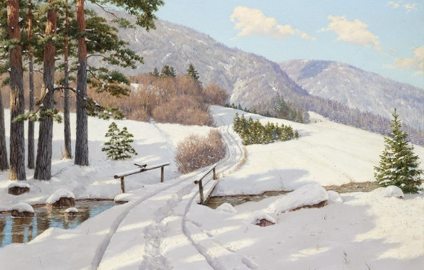 Картинка зима, лес, снег, деревья, пейзаж, горы, мост, река, елки, картина, сугробы, перила, колея, сосны, Борис …