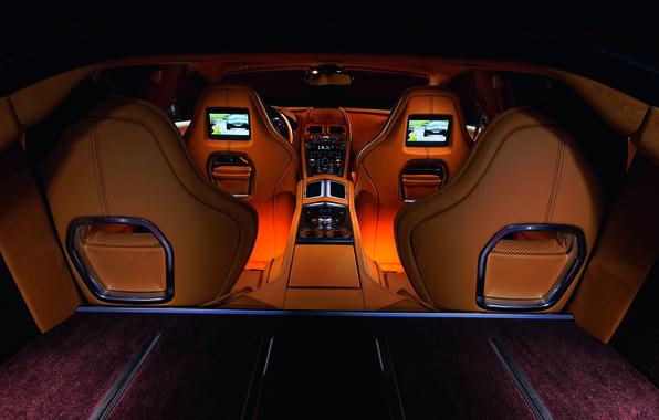 Картинка Aston Martin, Rapide, интерьер, кожа, подсветка, суперкар, эксклюзив, четырехдверный
