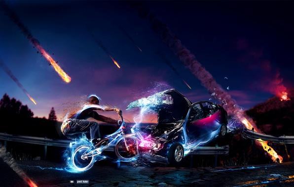 Картинка дорога, машина, авария, небо, велосипед, молнии, человек, неон, метеориты, bmx