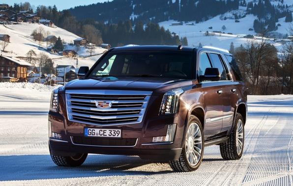 Картинка зима, снег, Cadillac, Escalade, кадиллак, 2015, EU-spec, эскалейд