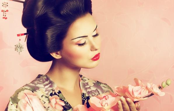 Картинка фон, япония, сакура, прическа, кимоно, девушка. макияж