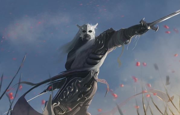 Картинка небо, взгляд, оружие, меч, доспехи, воин, маска, арт, броня