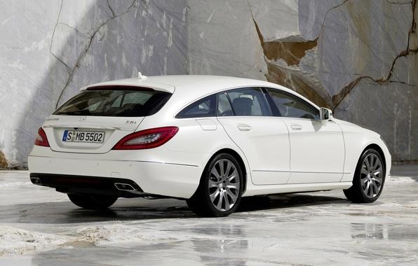 Картинка белый, фон, CLS, Мерседес, Mercedes, вид сзади, гранит, универсал, 250, Shooting Brake, ЦЛС, CDI