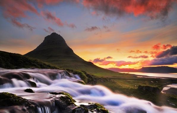Картинка облака, река, рассвет, гора, водопад, утро, Исландия, Iceland, Kirkjufel