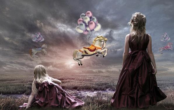 Картинка небо, шарики, кони, арт, девочка, Takis Poseidon