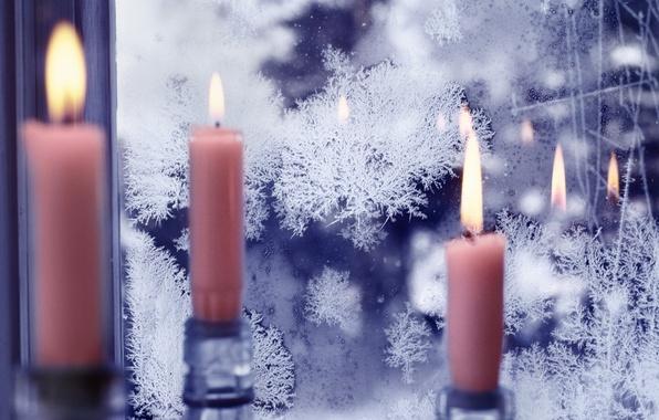 Картинка узор, свечи, окно, мороз, стукло