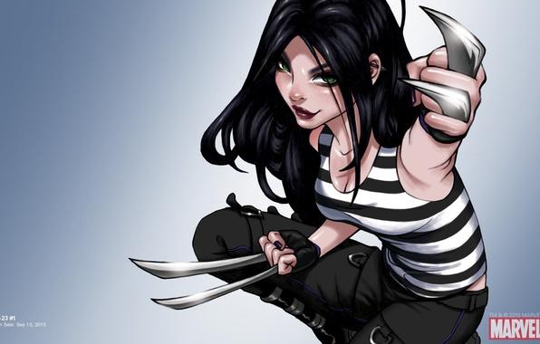 Картинка девушка, люди икс, X-Men, art, Marvel, комикс, тельняшка, comics, X-23